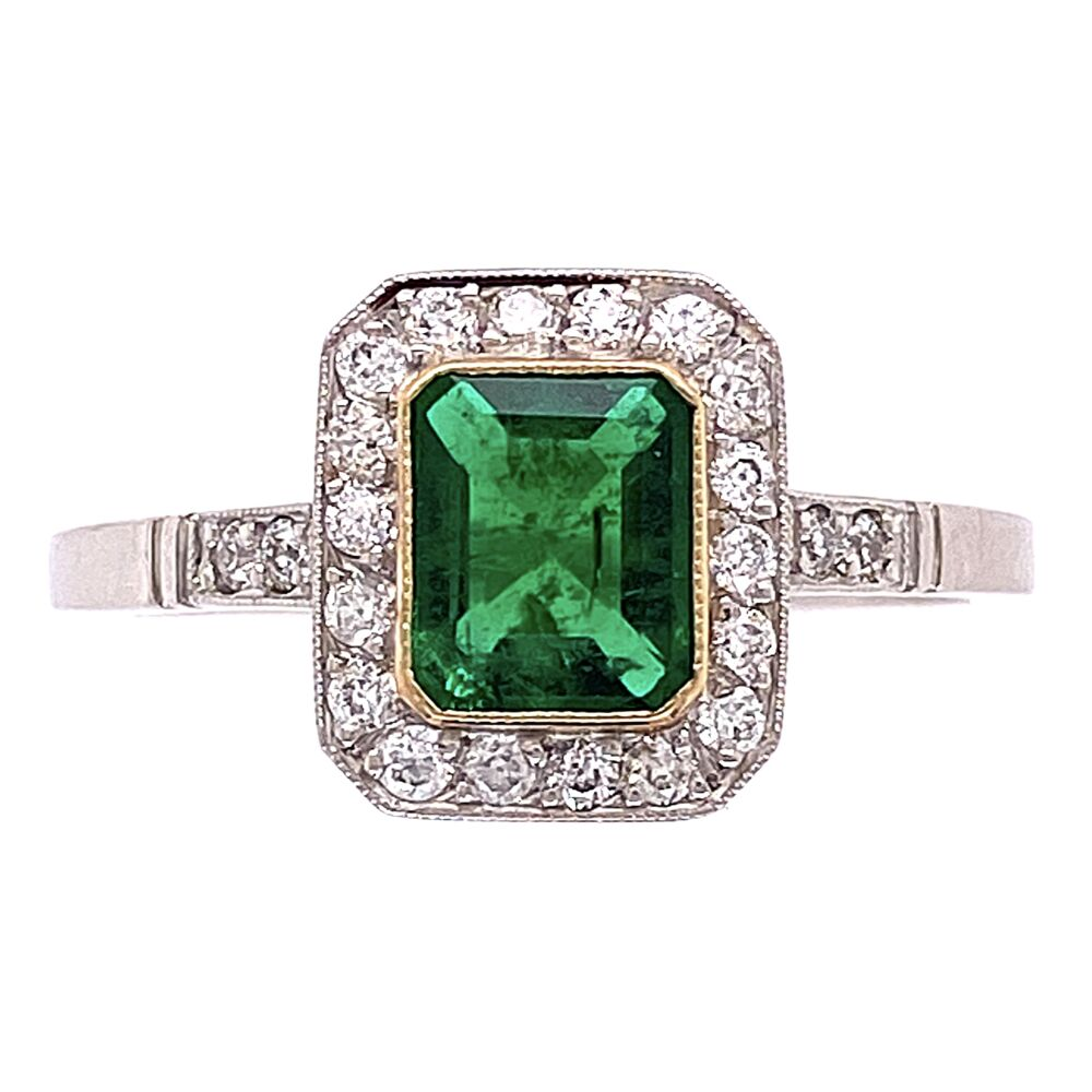 Platinum 1ct Emerald & .24tcw Diamonds 3.7g, s7