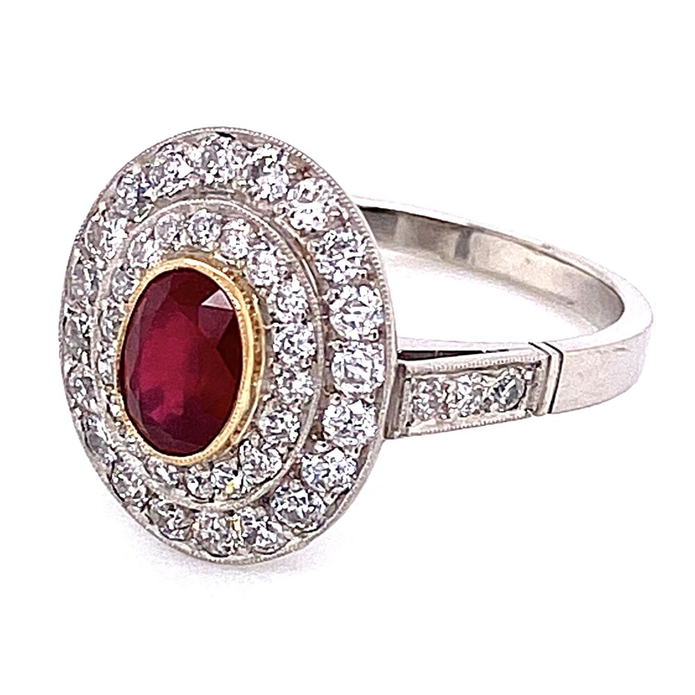 Image 2 for Platinum .50ct Oval Ruby & Double Halo Diamond Ring 4.8g, s7
