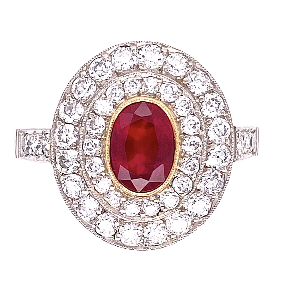 Platinum .50ct Oval Ruby & Double Halo Diamond Ring 4.8g, s7