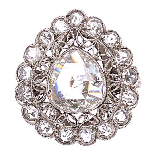 Closeup photo of Platinum Art Deco 1.5ct Rose Cut Pear Diamond Ring 4.9g, s6.5