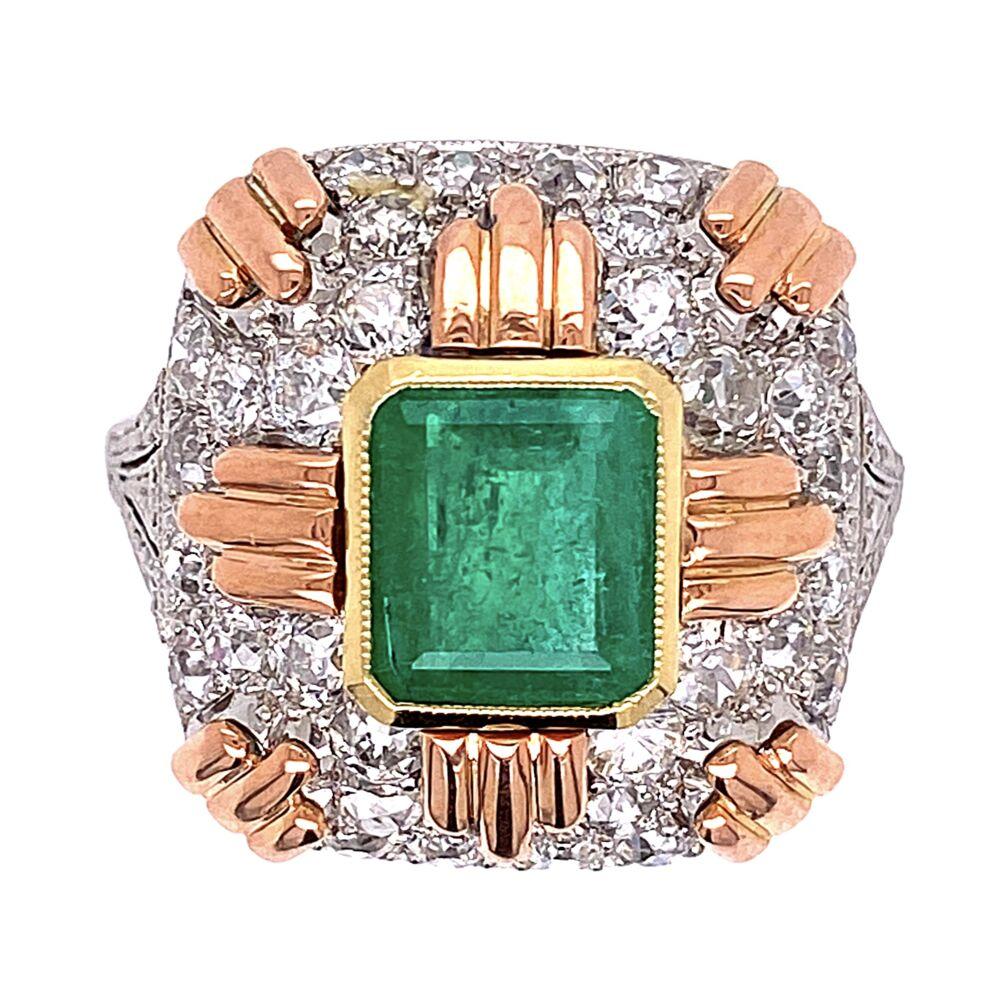 Platinum & Gold Retro 2.20ct Emerald & 2.00tcw Diamond Ring 7.4g, s5.75