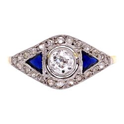 Closeup photo of Platinum on 18K Edwardian Diamond/Sapphire Ring 2.5g, s7