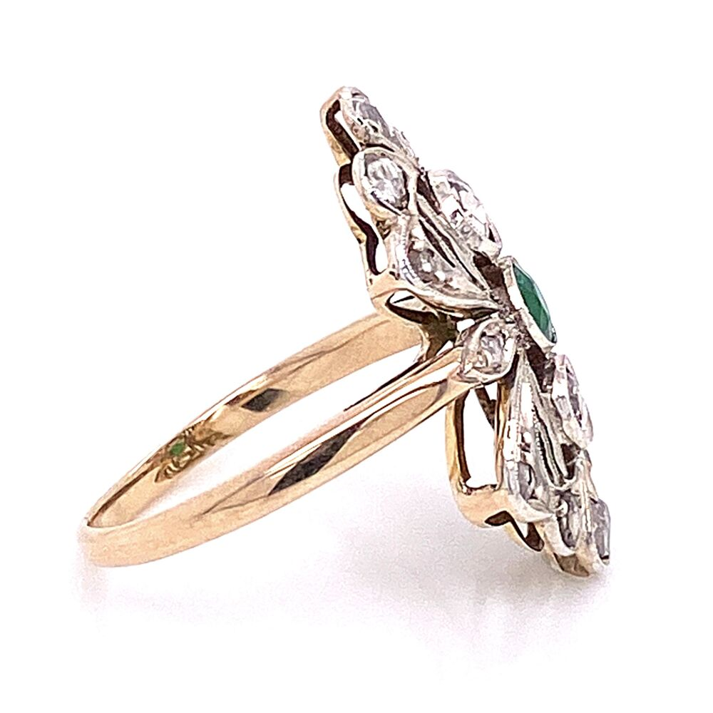 Image 2 for 14K Victorian Rose Cut Diamond with Emerald Center Ring 4.0g, s7.25