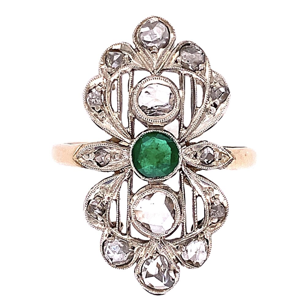 14K Victorian Rose Cut Diamond with Emerald Center Ring 4.0g, s7.25
