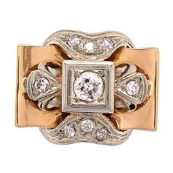 Closeup photo of 18K Rose Retro Ring with .68tcw Diamonds 7.6g, s8