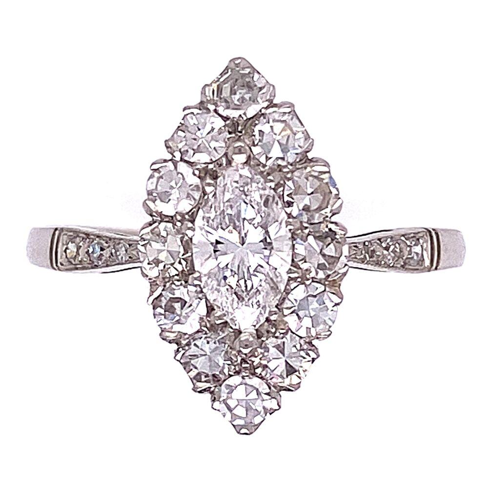 Platinum Art Deco .40ct Marquis & .55tcw Single Cut Diamonds Ring 2.7g, s6