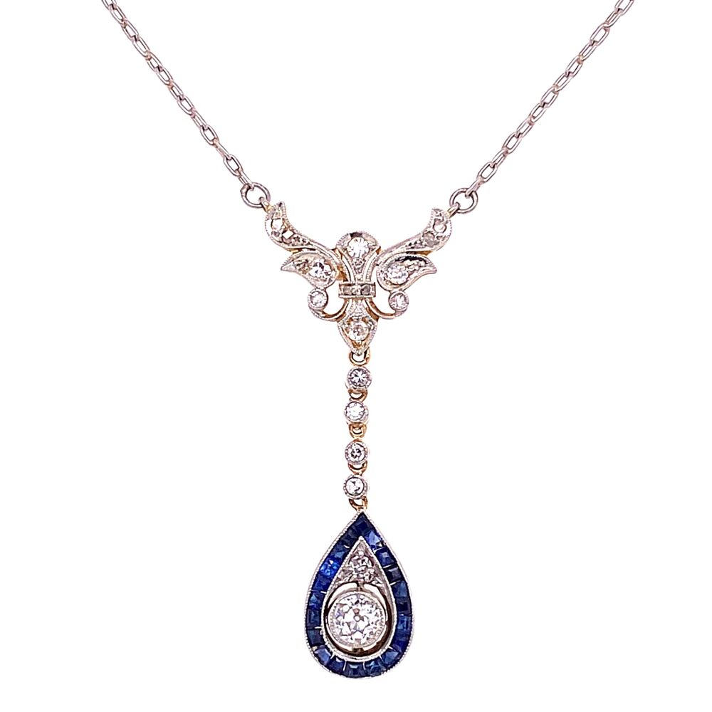 "Platinum on Gold Edwardian Diamond & Sapphire Necklace 5.1g, 18"""