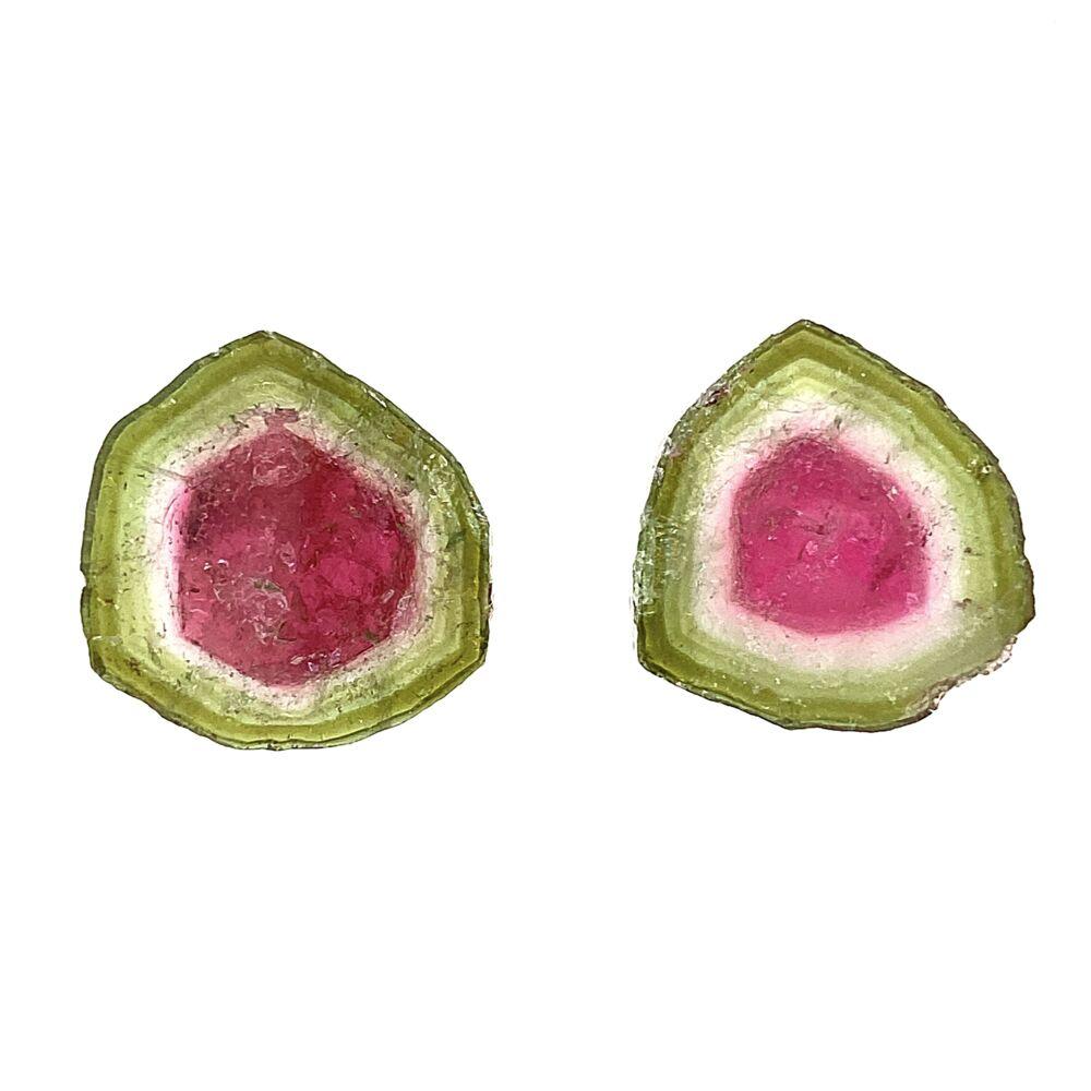 Loose Watermelon Tourmaline Tablet Pair 19.85tcw 17mm diamter