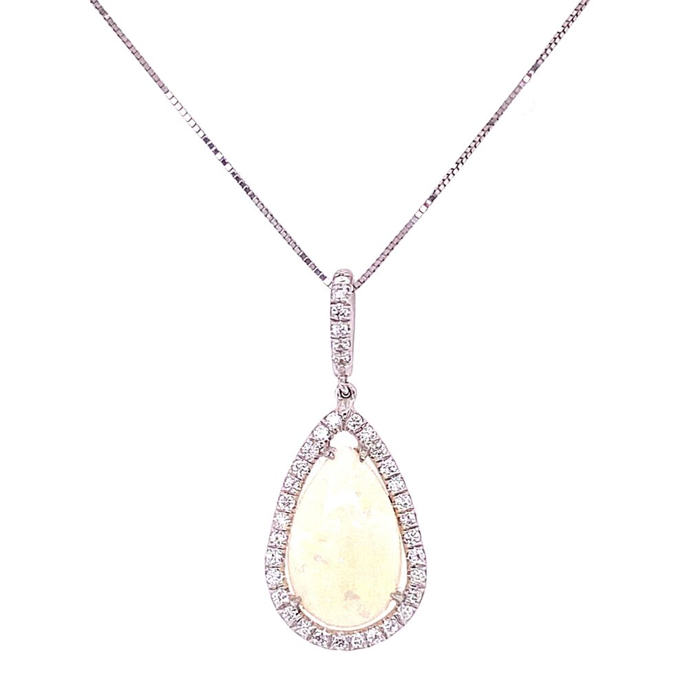 14K WG 1.90ct Pear White Opal & .30tcw Diamond Drop Pendant 2.8g, 16""