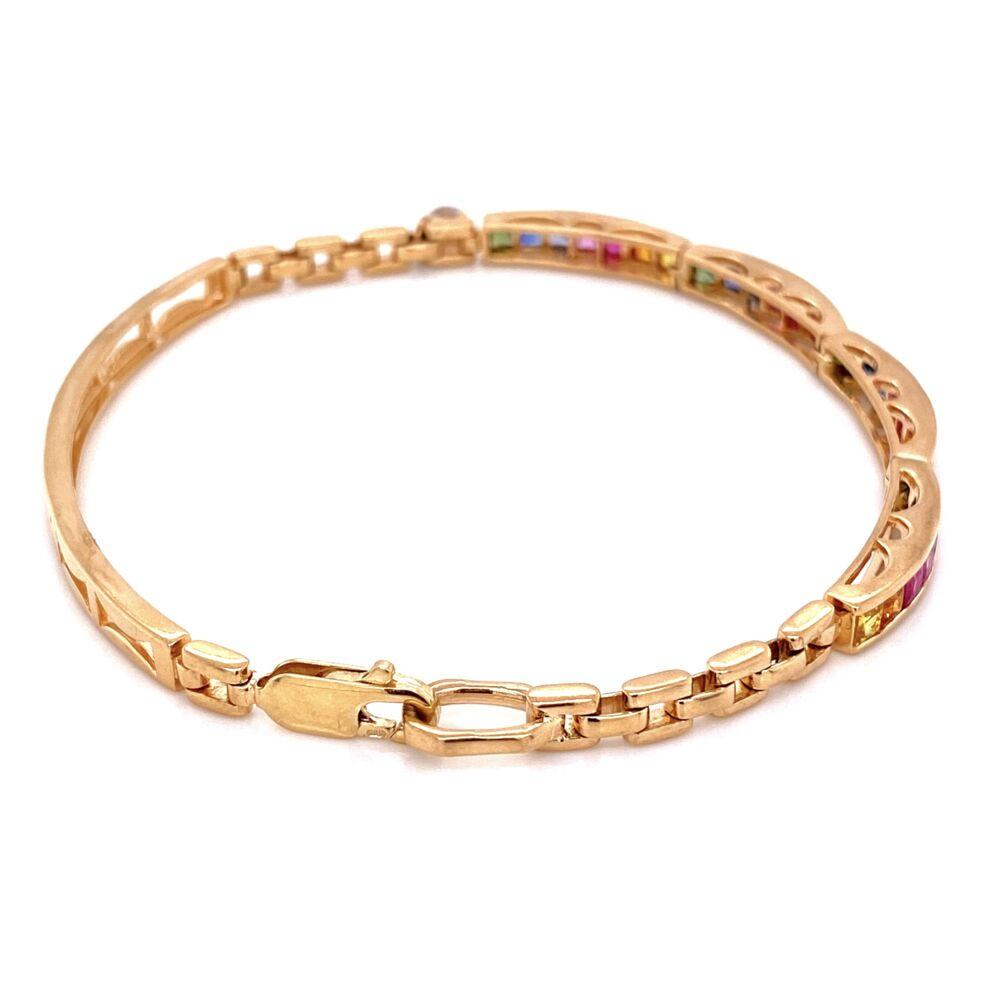 "Image 2 for 14K YG Rainbow Sapphire Bracelet 1.40tcw 12.7g, 7.25"""