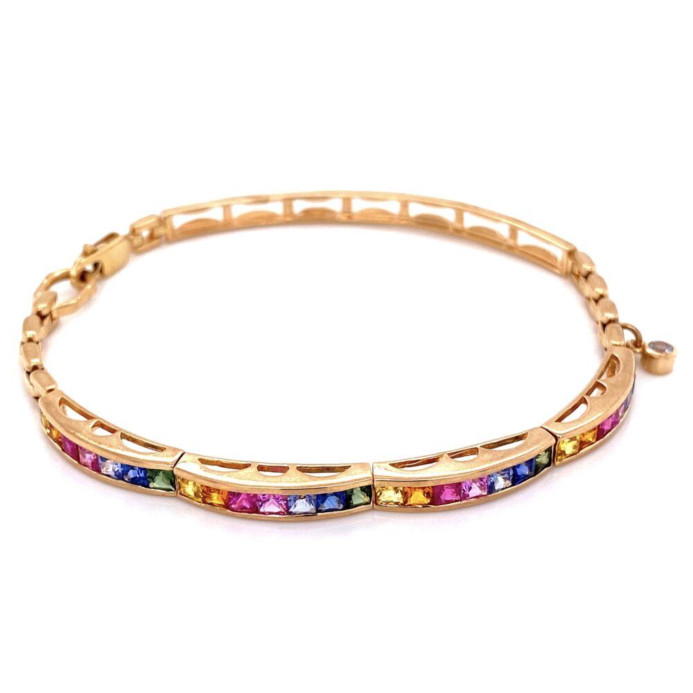 """14K YG Rainbow Sapphire Bracelet 1.40tcw 12.7g, 7.25"""""""