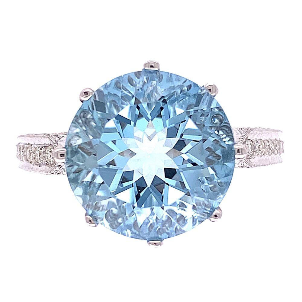 18K WG 5ct Round Aquamarine & .65tcw Diamond Ring 6.0g, s6.5