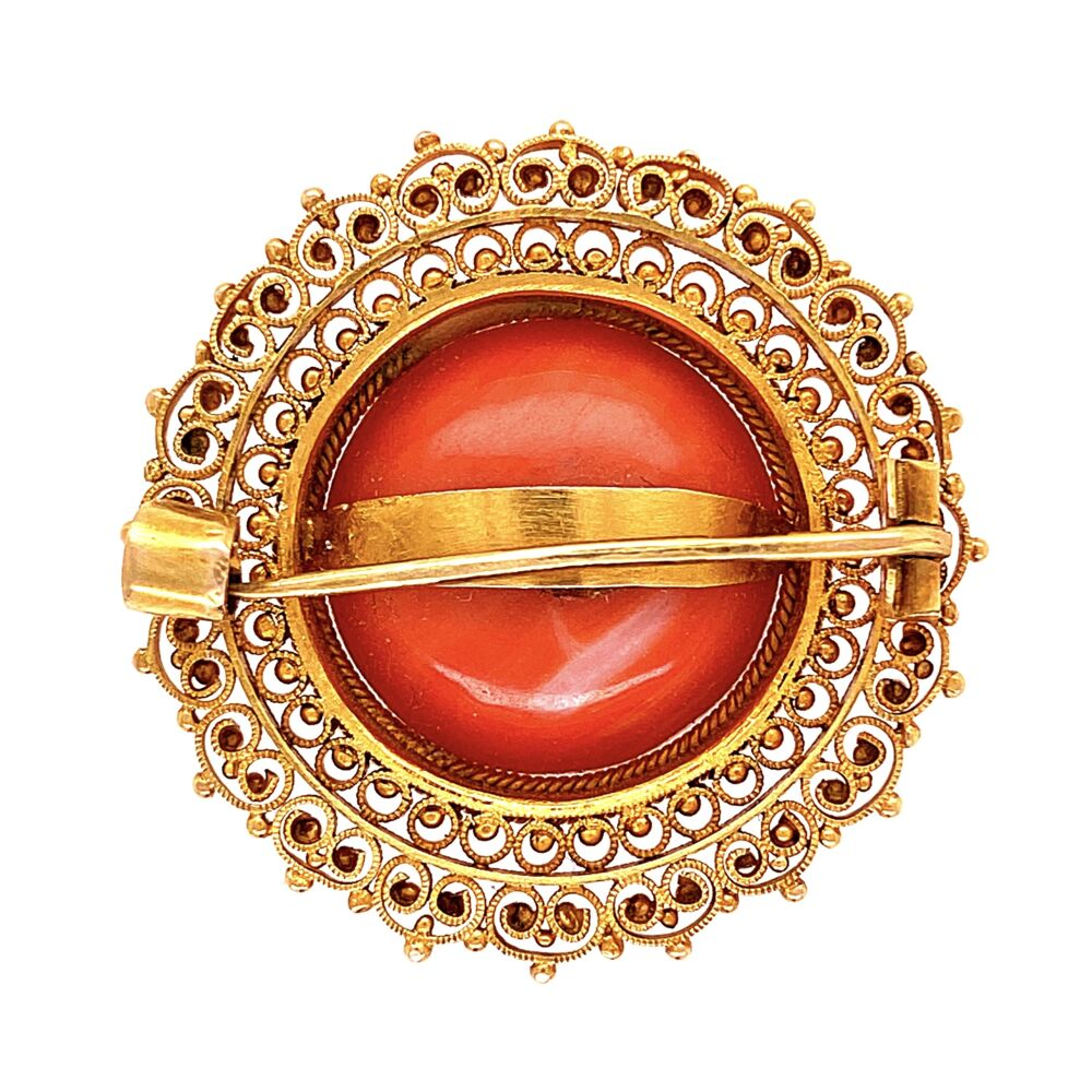 Image 2 for 14K YG Etruscan Italian Coral Brooch with Granulation 6.7g