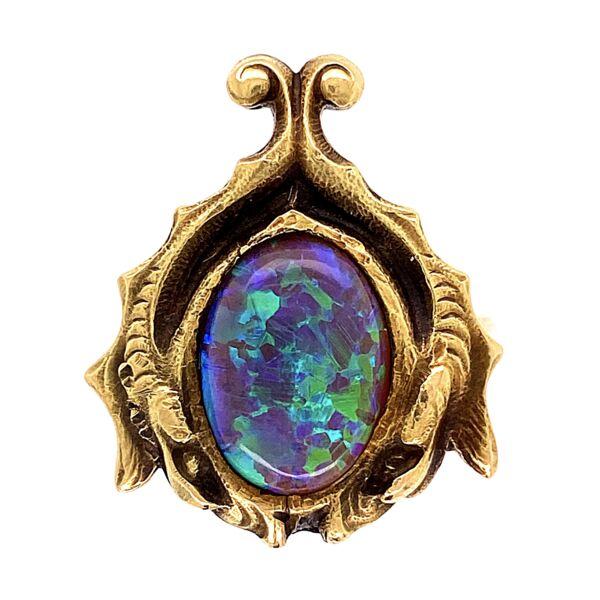 Closeup photo of 18K YG Arts & Crafts Black Opal Ring 6.4g, s6