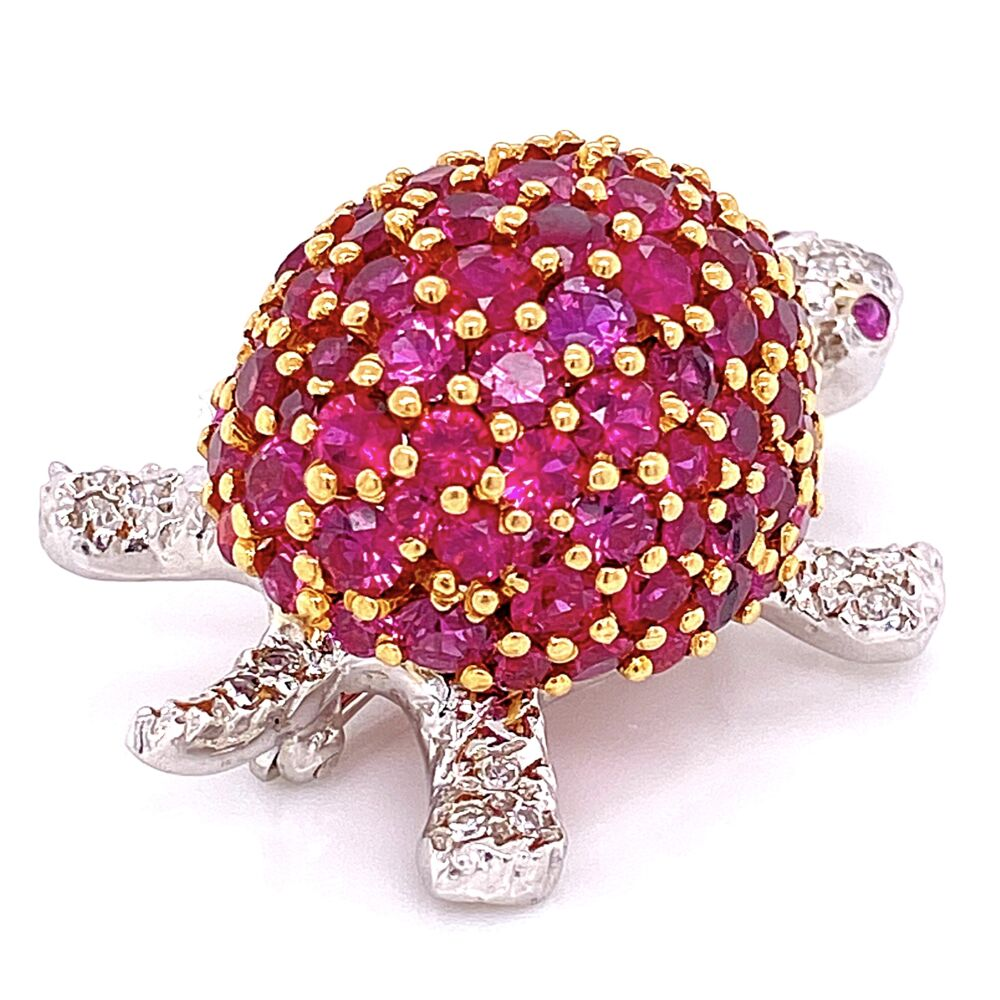 Image 6 for 18K W/YG Turtle Brooch 5.00tcw Rubies & .20tcw Diamonds 16.4g, 1.5x1""
