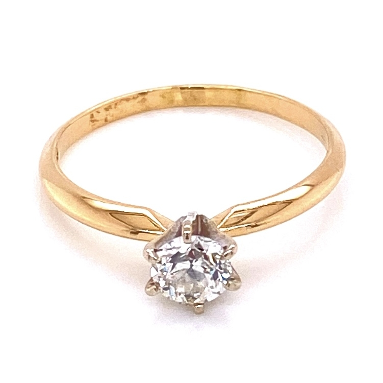 14K YG Victorian Solitaire Diamond Ring, 1 OEC .45ct, 1.8g, s6.25