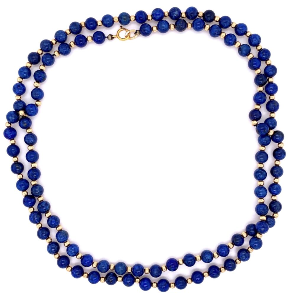 "14K YG Lapis & Gold Bead Necklace 5.5mm 32"" Long"