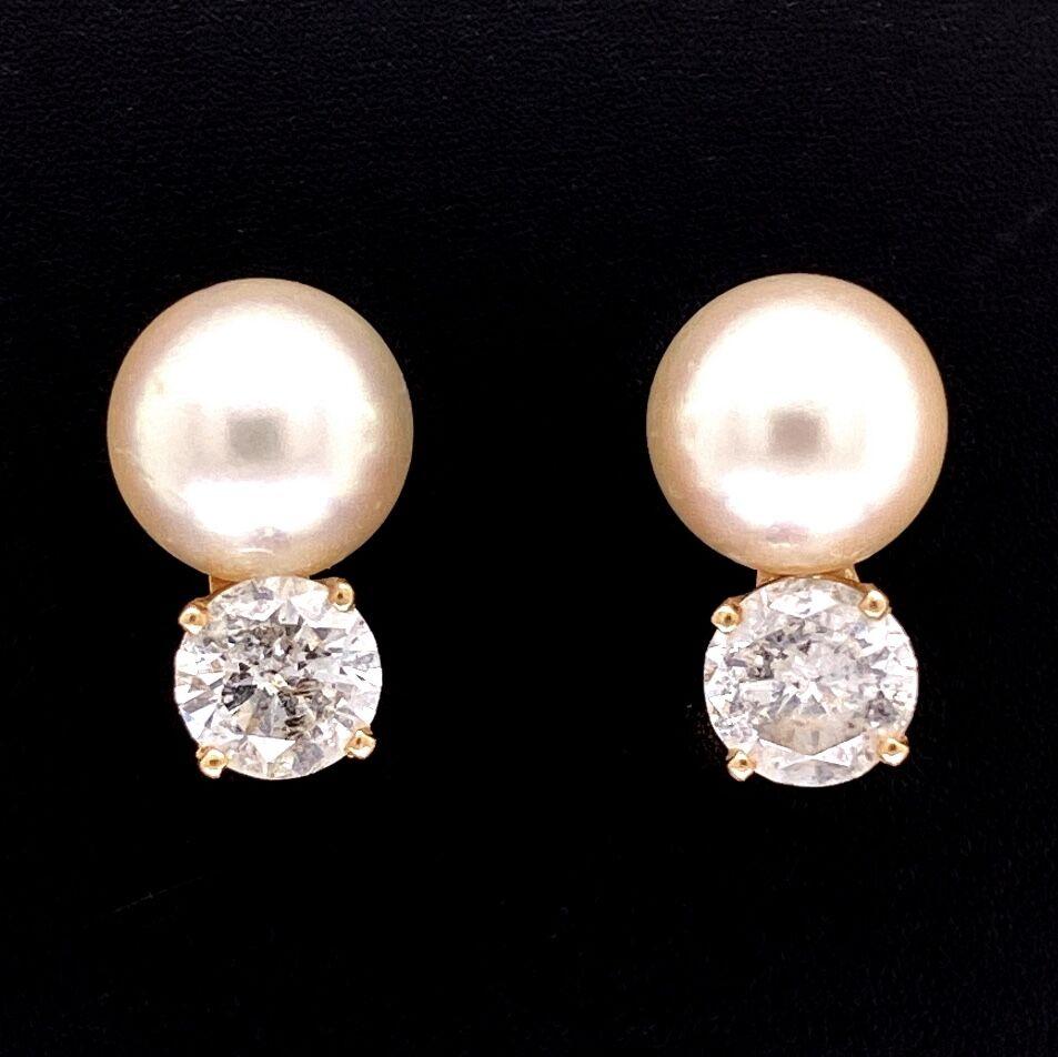 14K YG 8mm Pearl Studs with 1.20tcw Diamond Drops 2.9g,