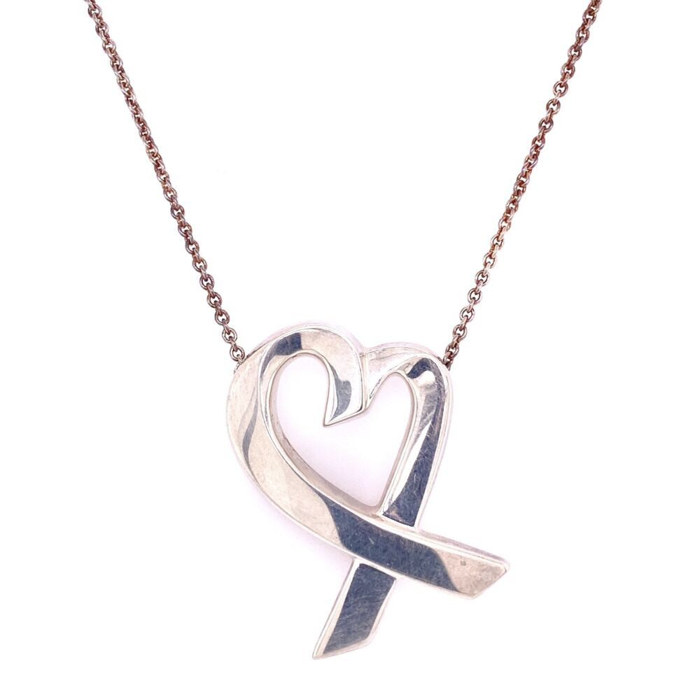 """925 Sterling TIFFANY Paloma Picasso Large Heart Necklace 12.9g, 24"""" Chain"""