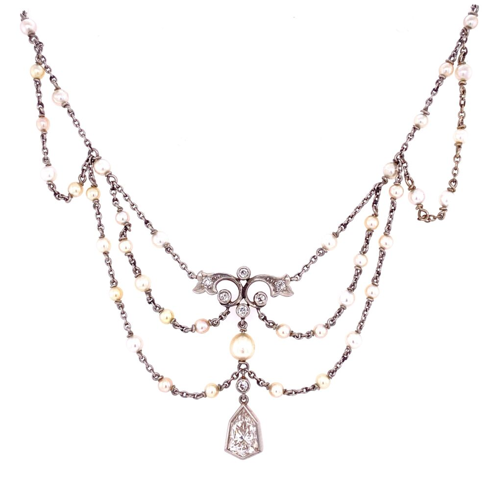 Platinum 18K YG Edwardian Diamond & Seed Pearl Bib Necklace 1.50tcw
