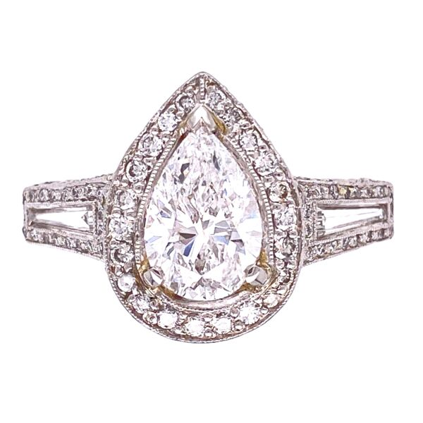 Closeup photo of Platinum 2.01ct Pear Diamond Ring with 1.25tcw side diamonds