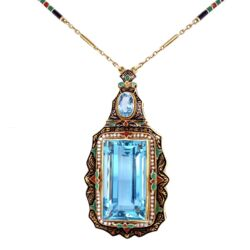 Closeup photo of 14K YG Arts & Crafts Enamel, Seed Pearls & 40ct Aquamarine Necklace 27.5g