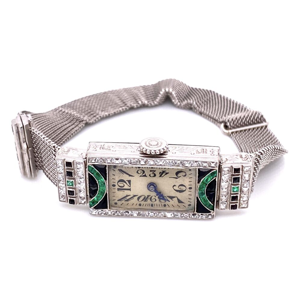 Image 2 for Platinum Art Deco Diamond Watch with Emeralds & Onyx 29.3g
