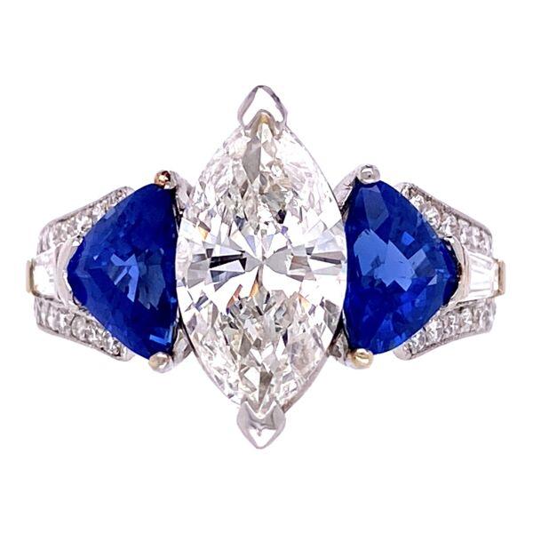 Closeup photo of Platinum 2.04ct Marquis & 2.50tcw Sapphire Ring 8.6g, s6