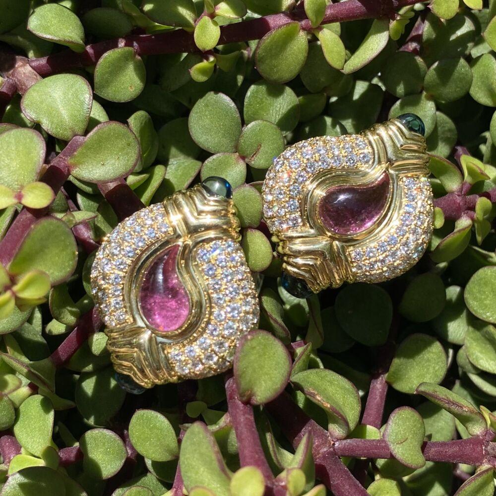 "Image 2 for 18K YG CASMIR Big Earrings 7tcw Diamonds, 4.50tcw Pink & Blue Tourmaline 33.2g, 1.5"""