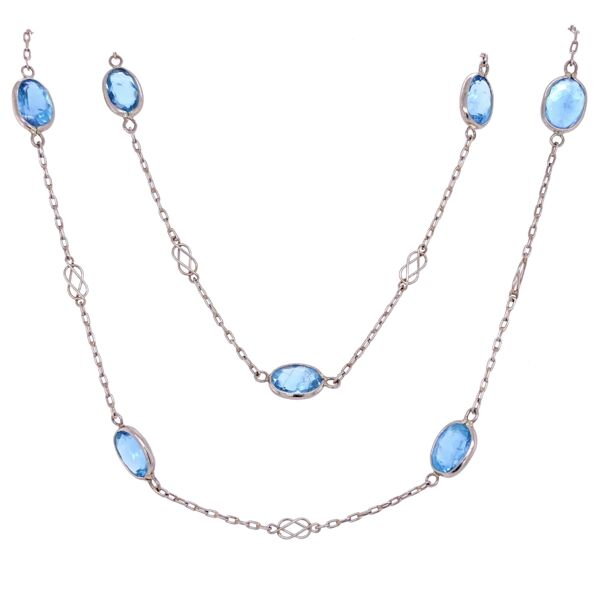 """Closeup photo of Platinum Link Necklace with 25tcw Oval Aquamarines 12.7g, 40"""""""