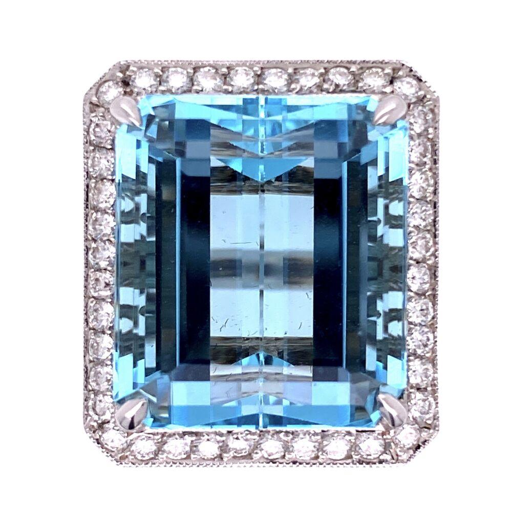 18K WG 29.93ct  Emerald Cut Aquamarine & 1.23tcw Diamond Ring 20.0g, s7