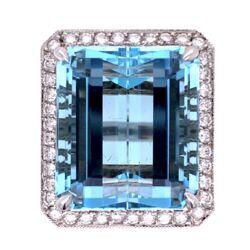 Closeup photo of 18K WG 29.93ct  Emerald Cut Aquamarine & 1.23tcw Diamond Ring 20.0g, s7