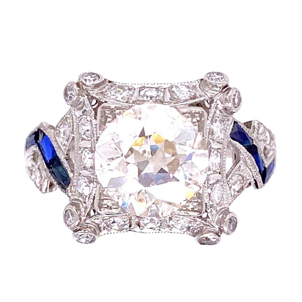 Platinum 2.16ct OEC Diamond Ring with Sapphires, s8