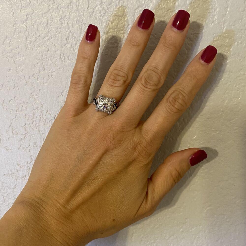 Image 2 for Platinum 2.16ct OEC Diamond Ring with Sapphires, s8