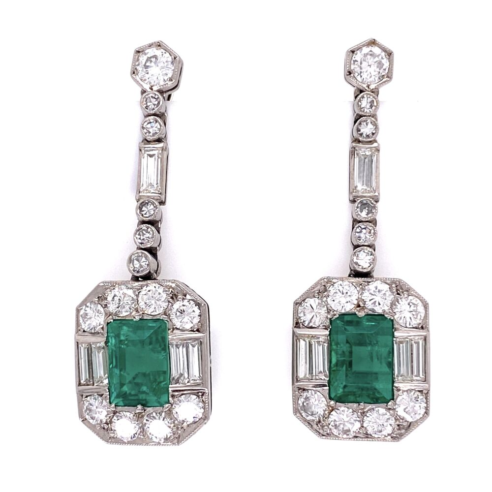 Platinum 4tcw Emerald & 3tcw Diamond Earrings GIA, c1950's