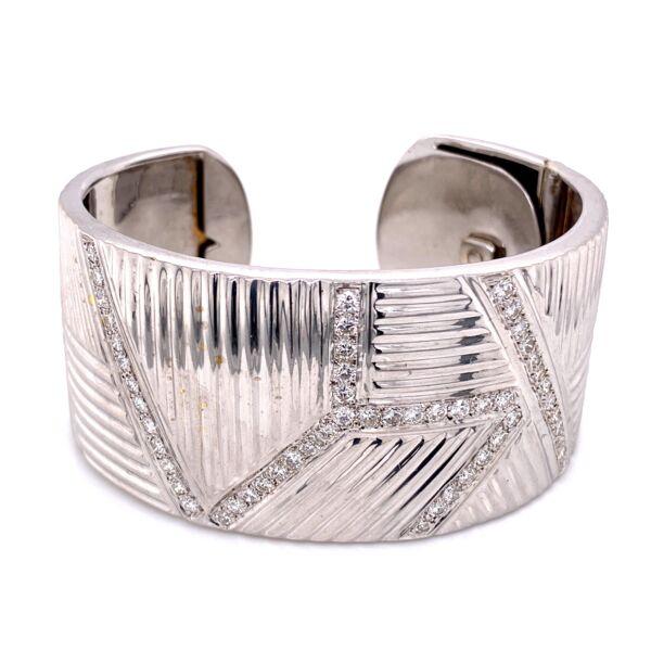 """Closeup photo of 14K WG 1.25"""" Wide 3.00tcw Diamond Bracelet 70.1g"""