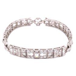 "Closeup photo of Platinum Art Deco 4.75tcw Diamond Bracelet 21.5g, 7"""