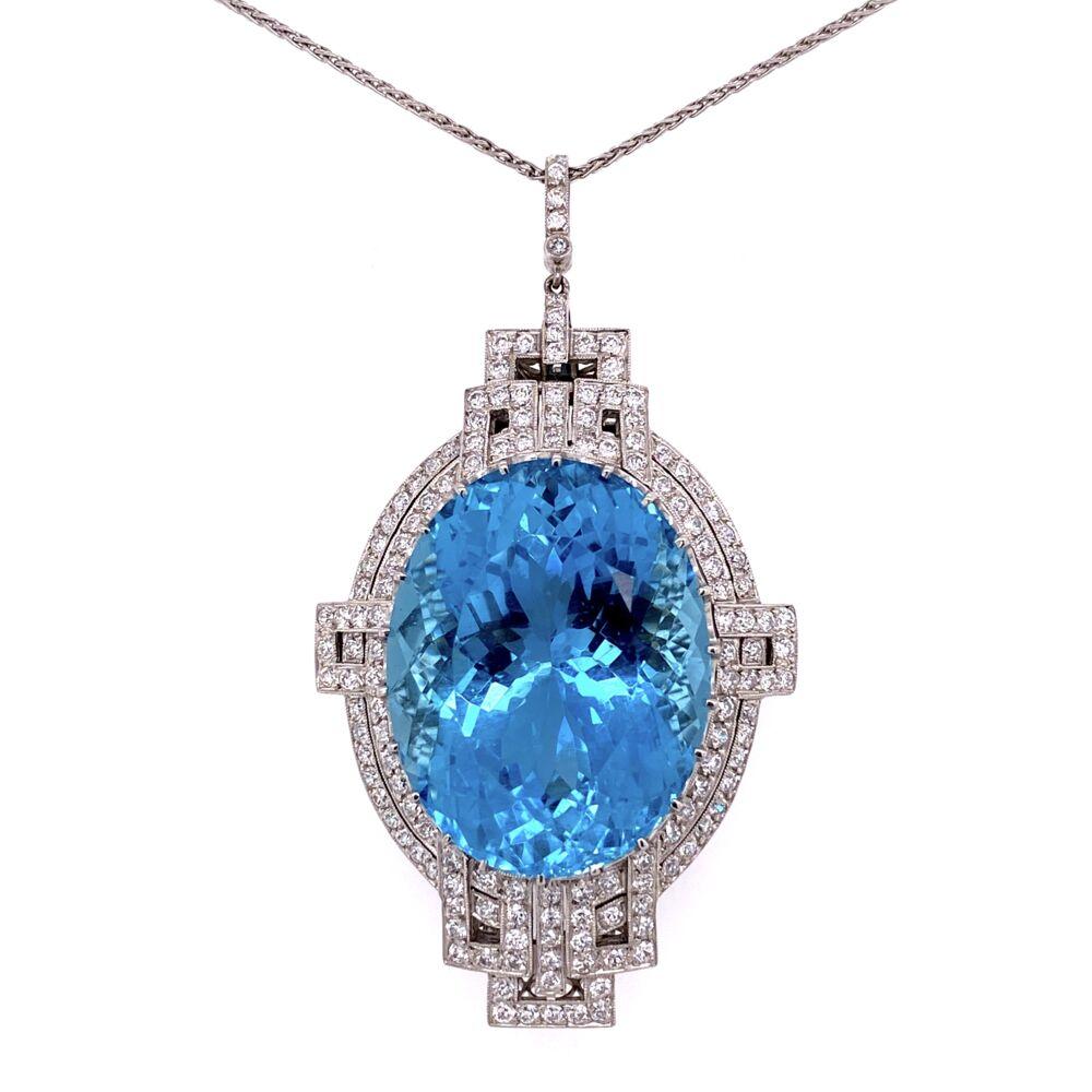 "Platinum Art Deco 53ct Oval Aquamarine & 3.50tcw Diamond FIligree Pendant 29.5g, 23"""