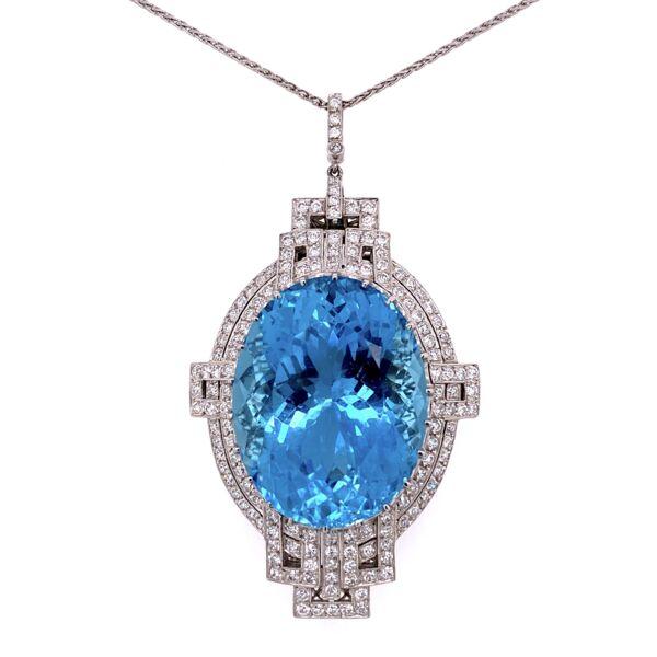 "Closeup photo of Platinum Art Deco 53ct Oval Aquamarine & 3.50tcw Diamond FIligree Pendant 29.5g, 23"""