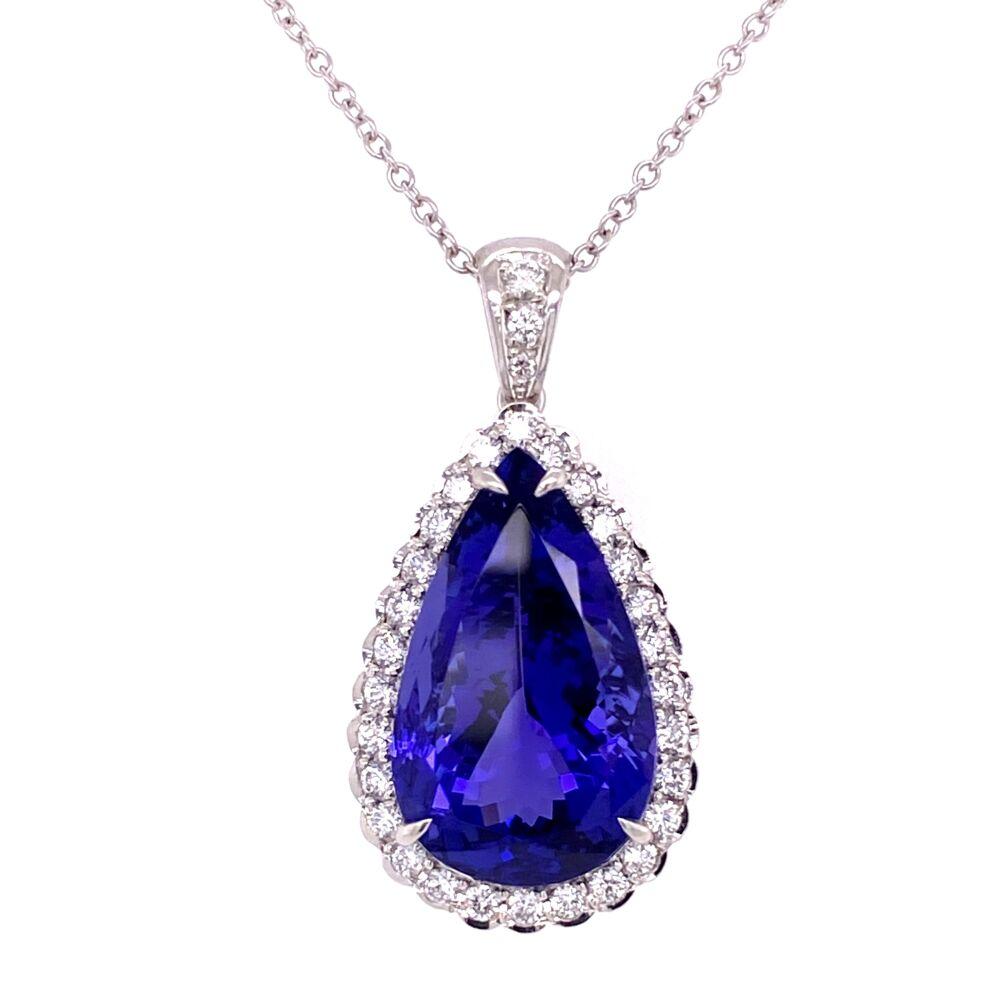 Platinum 14.01ct Pear Shape Tanzanite & .58tcw Diamond Drop Necklace