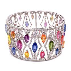 Closeup photo of 18K WG 45tcw Multi color Sapphire & 4tcw Diamond Bracelet 63.0g