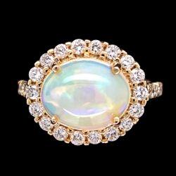 Closeup photo of 14K YG 2.30ct Opal & .79tcw Diamond Ring 5.0g, s6