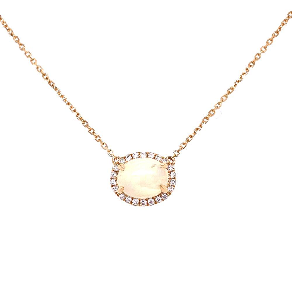 """14K YG 1.75ct Opal & .16tcw Diamond Halo Necklace 2.9g, 18"""""""