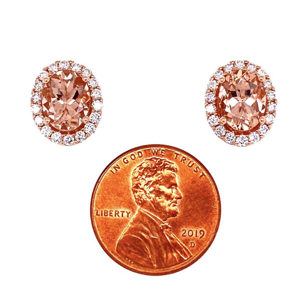 Image 2 for 14K Rose Gold 3tcw Morganite & .69tcw Diamond Earrings 4.7g