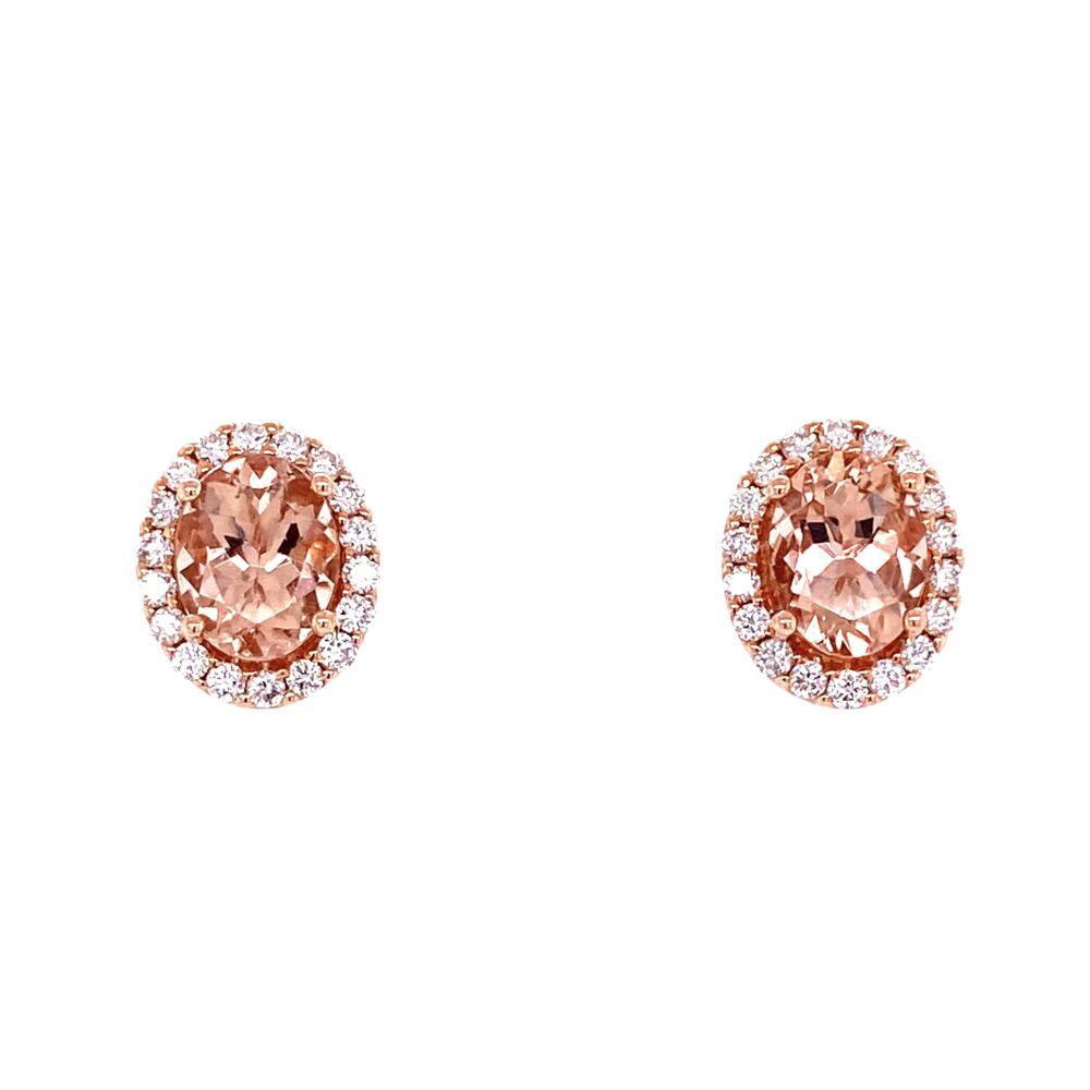 14K Rose Gold 3tcw Morganite & .69tcw Diamond Earrings 4.7g