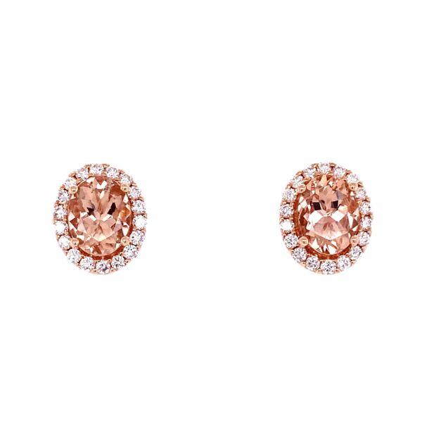 Closeup photo of 14K Rose Gold 3tcw Morganite & .69tcw Diamond Earrings 4.7g