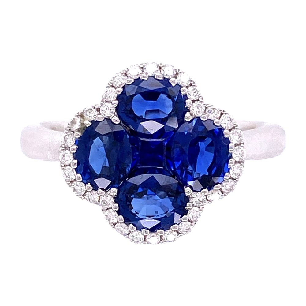 18K WG 2.07tcw Sapphire Cluster & .15tcw Diamond Ring 4.4g, s6.5