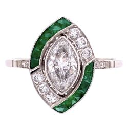 Closeup photo of Platinum .73ct Marquis Diamond & .72tcw Emerald Ring with .26tcw Diamonds, s7