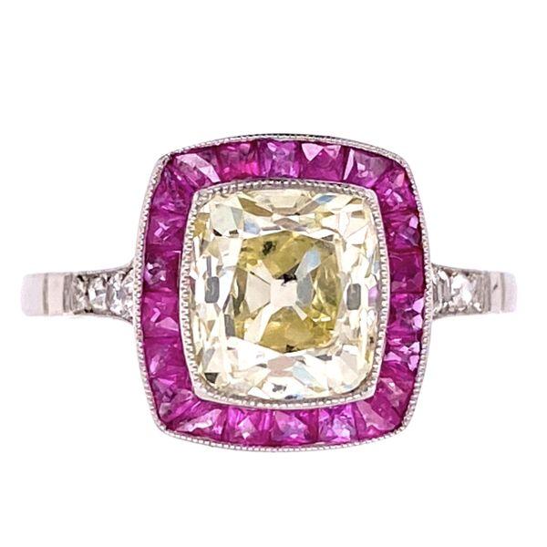 Closeup photo of Platinum Art Deco 1.96ct Old Mine Diamond & .68tcw Ruby Halo Ring, s7.5