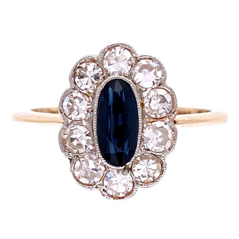 Platinum on 18K Edwardian .85ct Oval Sapphire & .50tcw Diamond Ring, s7.5